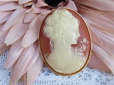 Vintage Gold Plated Cameo Brooch Carved Cameo Brooch Vintage
