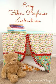 Tutorial: Easy fabric playhouse for a card table ~ http://sewing.craftgossip.com/tutorial-easy-fabric-playhouse-for-a-folding-table/2015/02/25/