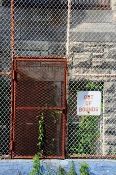 Prison Photography Old Abandoned Jail Photo Missouri State Penitentiary Out of Bounds Sign Photo by SilverBirdBoutique on Etsy