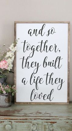 And So Together, They Built A Life They Loved Wood Sign, Framed Sign, Bedroom Wall Art Ideas, Couples Sign, Farmhouse Style Sign, Love Decor #rustic #sign #homeideas #farmhousedecor #farmhouse #homedecor #affiliate