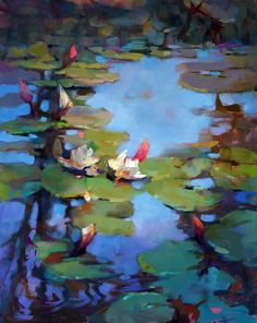 "<B>""Water Lilies and Reflection""</B> <br> <font color=""red""><B>NEW</B></font> <br> 30"" x 24"""