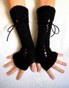 Corset Gloves Long Black Handknitted Fingerless Arm Warmers with Suede Ribbons Victorian Style Daily Fashion, Love Fashion, Winter Fashion, Fashion Outfits, Teen Fashion, Fingerless Gloves Knitted, Black Gloves, Victorian Fashion, Aesthetic Clothes