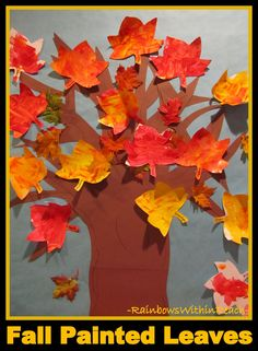 fall art projects for middle school | photo of: Fall Painted Leaves Displayed on Autumn Bulletin Board ...