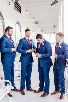 Kate and Russell's Red, white and blue Savannah Wedding - Blue groomsmen Blue Red Wedding, Red And White Weddings, Maroon Wedding, Red Wedding Dresses, Wedding Colors, Wedding White, Wedding Ideas, Blue Groomsmen Suits, Groom And Groomsmen Attire