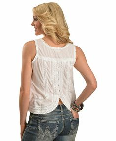 White Embroidered Back Button Sleeveless Top
