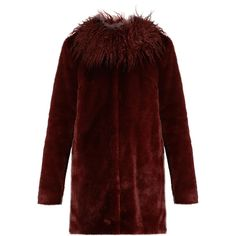 Shrimps Fifi faux-fur coat (68900 RSD) ❤ liked on Polyvore featuring outerwear, coats, burgundy, fake fur coats, flare coat, pastel coat, faux fur coat and red coat