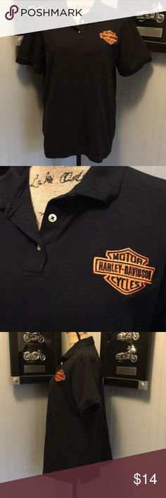 "Harley Davidson Polo Style Shirt EUC. Black with orange bar and shield on front. Dealership staff shirts. Length 24"". Armpit to armpit 22"". Harley-Davidson Tops"