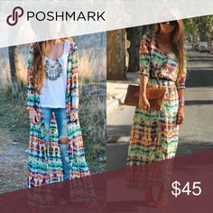 ✨ Boho Colorful Tie Dye Maxi Cardigan This is a gorgeous versatile piece! I have 2 available! You can make it into a kimono or dress or a cover up! There's so many ways to dress up in this! It is a chiffon material! Let me know if you have any questions! Dresses Maxi