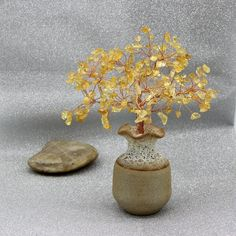 Natural Citrine Beads Tree Yellow Gemstone Wire Tree Sculpture Life of Tree Ornament Lucky Tree Bonsai Tree Energy Healing Reiki Meditation Wire Tree Sculpture, Reiki Meditation, Unique Trees, Beaded Wrap Bracelets, Blue Beads, Healing Stones, Gemstones, Bonsai, Nature