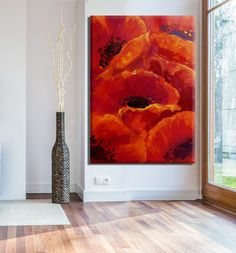 Passionate red blossom by Miri Lavee. Large impressive canvas painting for home & office decor. Click here to see it in my Etsy shop: https://www.etsy.com/listing/470235941 #mirilavee #canvaspainting #largewallart #flowerpainting #oilpainting