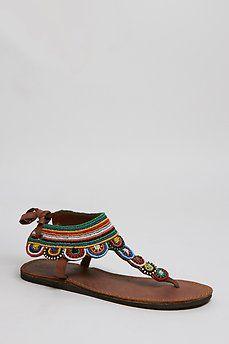 Sandalia plana tribal multicolor