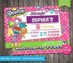 SALE - 80% OFF Shopkins Birthday Invitation - INSTANT Download - Printable Shopkins Birthday Invite - Shopkins Invite - Personalize & Print