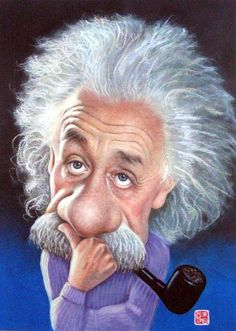 "Albert Einstein: ""In the middle of difficulty lies opportunity. Funny Caricatures, Celebrity Caricatures, Cartoon Kunst, Cartoon Art, Cartoon Faces, Funny Faces, Caricature Drawing, Famous Cartoons, Alphonse Mucha"