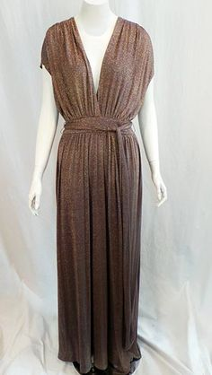Gold Halston Heritage gown, size 4  Find more unique consignment pieces at www.revolverboutique.com