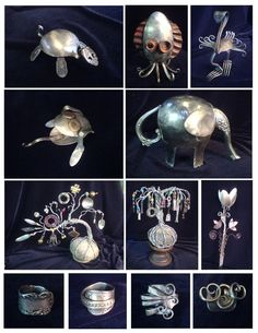 Love to turtle made from a spoon. The elephant and bird are cute too!