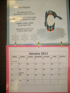 Handprint Calendar Poems | January - Penguins