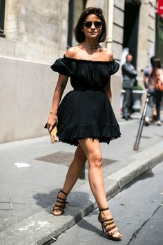 Miroslava Duma with a bob in an off-the-shoulder dress & strappy sandals #style #fashion #streetstyle