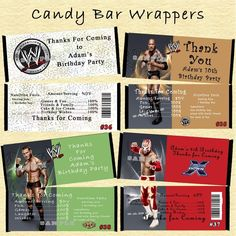 WWE Wrestling Birthday Candy Wrapper 10 ea Personalized Custom Made #Personalized #BirthdayChild