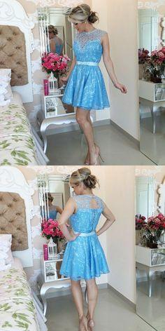 Open Back Blue Lace Short Prom Dresses, Elegant Light Blue Homecoming Dresses, Cute Prom Party Dresses