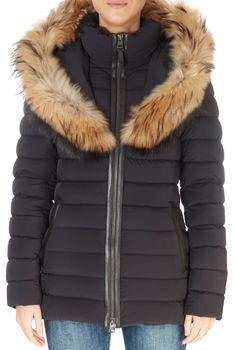 'Kadalina' Black Down Coat With Natural Fur Collar