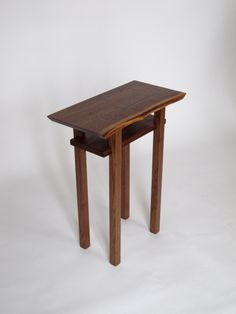 Small narrow end table- walnut, cherry and maple, solid wood accent tables for small spaces- Modern Wood Furniture, handmade in the USA