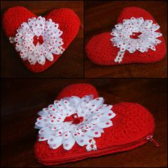 Free Crochet Pattern for a Valentine Heart Pouch. Embellish with whatever suits your ♥ⓛⓞⓥⓔ♥  fancy crochet hearts