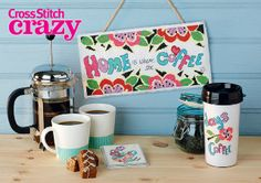 If you're crazy for coffee you'll love this funky set from issue 185 of Cross Stitch Crazy! Click here to buy a copy http://secure3.subscribeonline.co.uk/origin/products.sol?mag=CSCZ or visit your app store to download it to your tablet or smartphone!