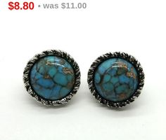 ON SALE! Vintage Sarah Coventry Earrings, Faux Turquoise, Silvertone Button Clip-ons