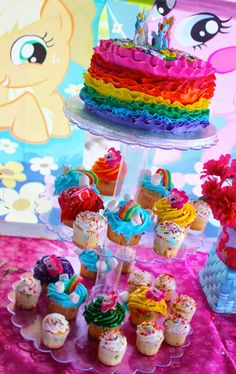 A Rainbow Dash Inspired Birthday Party cake and cupcakes ~ Kroma Design Studio | Custom Party Stationary and Ideas for the Hostess