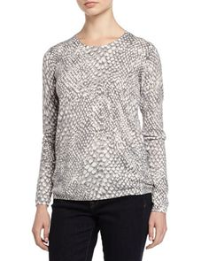 Abstract-Print Sweater, Stone Mist Combo by Joie at Neiman Marcus Last Call.