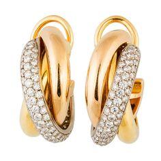 CARTIER Trinity Diamond Gold Hoop Earrings Clips | From a unique collection of vintage hoop earrings at http://www.1stdibs.com/jewelry/earrings/hoop-earrings/ 8.2k USD