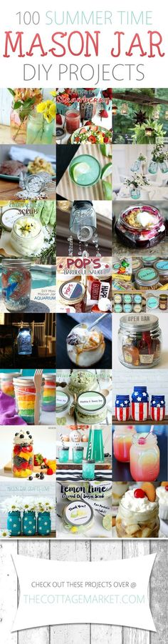 100 Summer Time Mason Jar DIY Projects - The Cottage Market