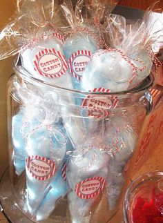 Split big bags of cotton candy into smaller bags for a carnival/circus party.