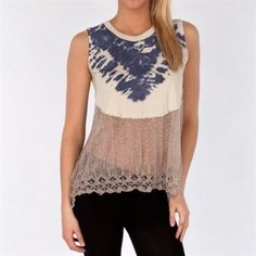Free People Tie Dye/Lace Tank Sz Medium We The Free Free People Bonaroo Swift Tank in Antique! Half lace (see through) at bottom and comfy cotton on top! Sz M! Great condition! Free People Tops Tank Tops