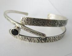 Sterling silver bracelet black onyx handmade branches twig #jewelrysilverideas