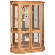 Amish Angled Double Door Picture Frame Curio Cabinet A standing chest to display your treasures, this curio has 4 adjustable glass shelves, mirrored back and touch lighting. Amish furniture made in America. #curiocabinets Amish Furniture, Solid Wood Furniture, Furniture Making, Dining Corner, Dining Hutch, Glass Curio Cabinets, Glass Shelves, Door Picture Frame, Quarter Sawn White Oak