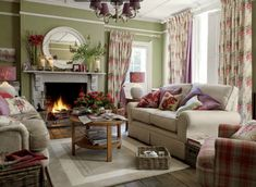Crazy european cottage living room made easy Cottage Living Rooms, Living Room Red, Cottage Interiors, Home And Living, Living Room Decor, Laura Ashley Living Room, Laura Ashley Mirror, Laura Ashley Home, French Country Living Room