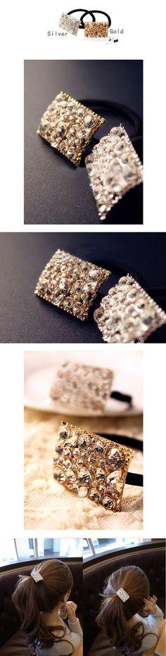 $3.05 Elegant Style Bling Rhinestone Hair Holder Ponytailers Gold / Silver - BornPrettyStore.com