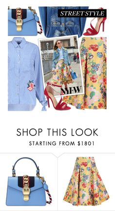 """""""Street Style: Embellished Sleeves"""" by beebeely-look ❤ liked on Polyvore featuring Gucci, Valentino, StreetStyle, floral, denim, sammydress and embellishedsleeves"""