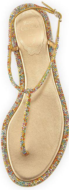 Rene Caovilla Jeweled Satin Flat Thong Sandal, Multi