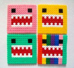 Domo Kun Inspired Coasters Kawaii Hama/Perler/Fuse Beads Set of four Pixel Art. £3.50, via Etsy.