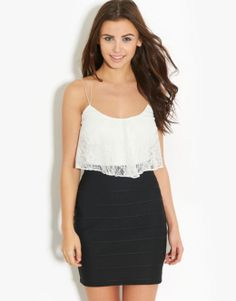 Lipsy  Lace Top 2in1 Dress - BANK Fashion