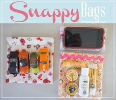 DIY Snappy Bags Tutorial...these are great for holding all kinds of things and I love that she uses old tape measures for the snap part!
