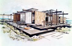 1957 Shoreline House for Orange County Home Show : Wayne Williams & Whitney Smith : Rendering by Al Smith
