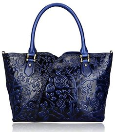 Pijushi Designer Inspired Embossed Rose Ladies Handmade Leather Tote Shoulder Bags Satchel Handbags