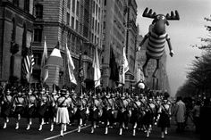 Bullwinkle-  Bullwinkle the moose floats above the Macy's parade in the early 1960s, when he costarred in TV cartoons with Rocky the Flying Squirrel.