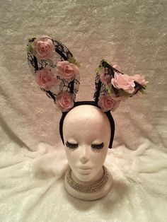 Black Lace and Pink Flower Bunny Ears. Burlesque Boho Shabby Chic Rave Costume #EmpireMiniTopHats