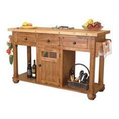 Sunny Designs 58-In L X 20.5-In W X 35-In H Rustic Oak Kitchen Island