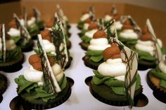 Camo cupcakes- Blog has great ideas for camo birthday party