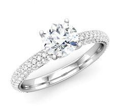 My Dream Beautiful Wedding and Engagement Ring in Round Diamond - http://www.mybridalring.com/Rings/14k-white-gold-round-diamond-engagement-ring/